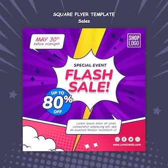 Vierkante flyer-sjabloon voor verkoop in komische stijl