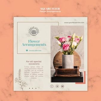 Vierkante flyer-sjabloon voor winkel met bloemstukken