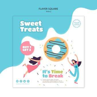 Vierkante flyer-sjabloon voor zoete gebakken donuts
