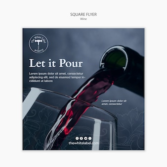 Vierkante flyer sjabloon wijnwinkel
