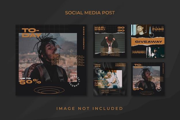 Vierkante flyer sociale media feed poster instagram sjabloon stedelijke stijl