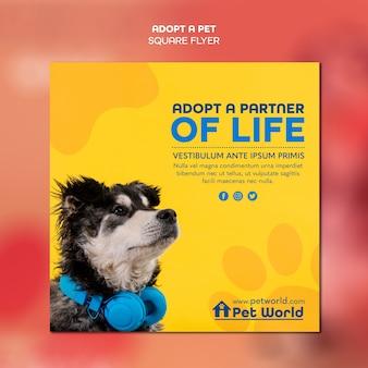 Vierkante flyer voor adoptie van huisdieren met hond