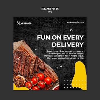 Vierkante flyer voor barbecuerestaurant