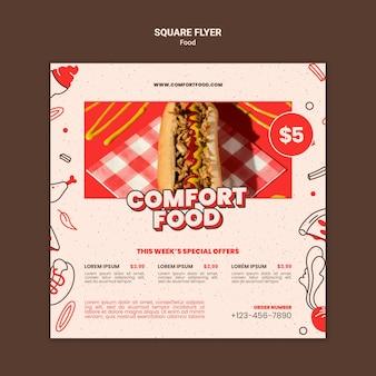 Vierkante flyer voor comfort food hotdog