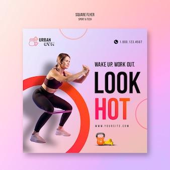 Vierkante flyer voor fitness en lichaamsbeweging