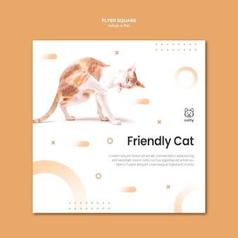 Vierkante flyer voor het adopteren van een huisdier