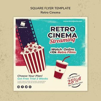 Vierkante flyer voor retro bioscoop
