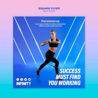 Vierkante flyer voor sport en beweging