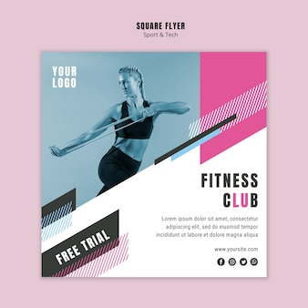 Vierkante flyer voor sport en fitness