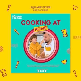 Vierkante flyer voor thuis koken
