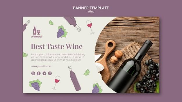 Vierkante flyer voor wijnproeverij met fles en druiven