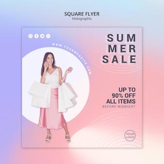 Vierkante flyer voor zomerverkoop