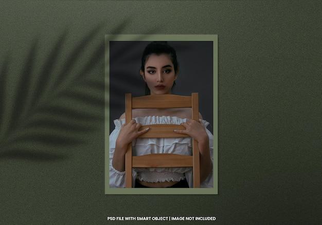 Vierkante fotolijst polaroid mockup sjabloon premium psd