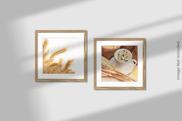 Vierkante houten frames mockup opknoping op de muur met schaduw-overlay