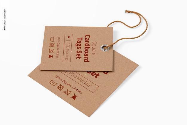 Vierkante kartonnen labels set mockup, bovenaanzicht