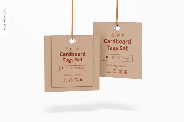 Vierkante kartonnen labels set mockup, hangend