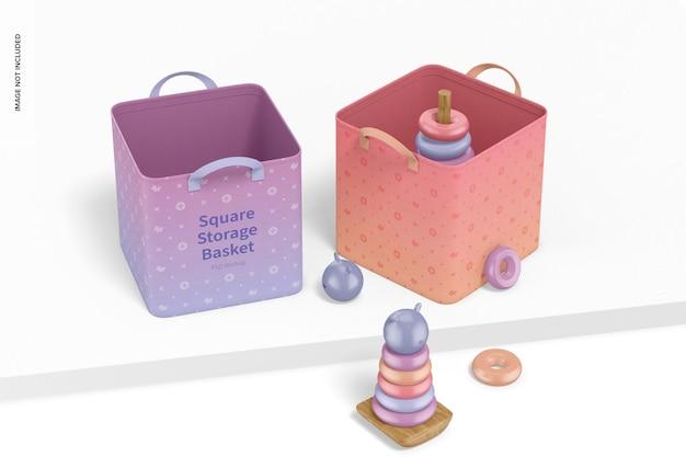 Vierkante opbergmanden met speelgoedmodel
