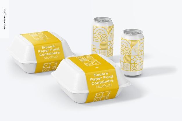 Vierkante papieren voedselcontainers mockup met blikje