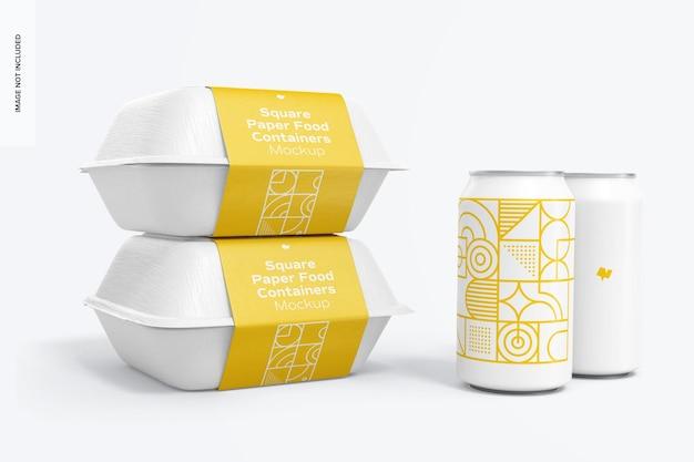 Vierkante papieren voedselcontainers set mockup met blikje