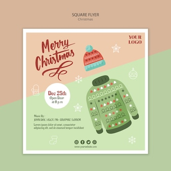 Vierkante sjabloon folder voor kerstmis met trui