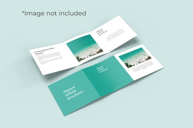 Vierkante tweevoudige brochure mockup met rechte hoek