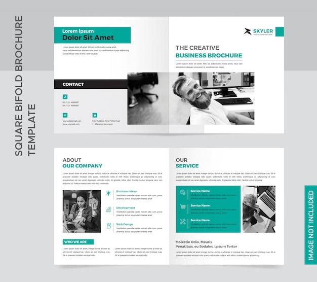 Vierkante tweevoudige brochure sjabloon