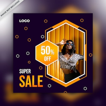 Vierkante verkoopbanner voor instagram