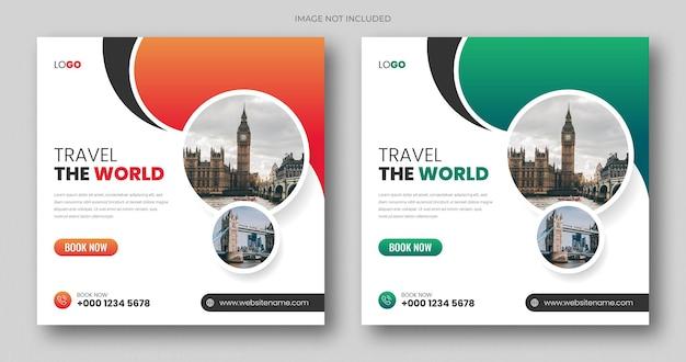 Vierkante webbanner of postsjabloon voor sociale media voor reizen en toerisme