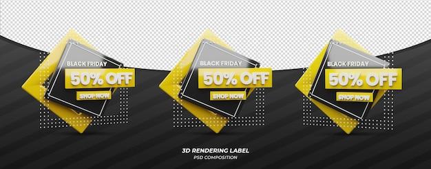 Viernes negro 3d render etiqueta de descuento de color amarillo