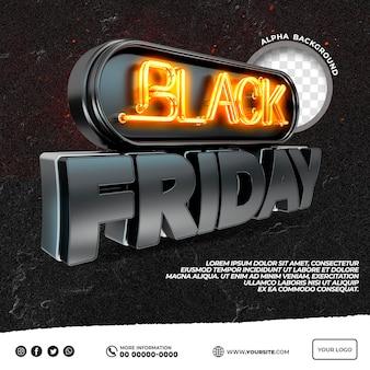 Viernes negro logo 3d con luces y publicación de instagram negra y naranja en brasil