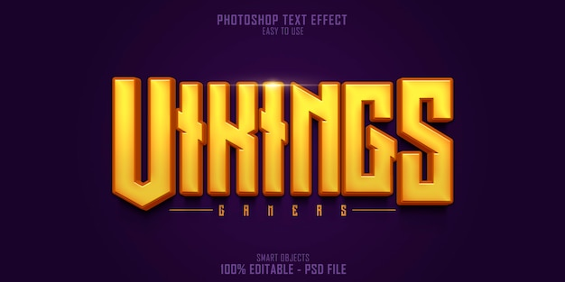 Vikings gamers 3d-tekststijleffectsjabloon