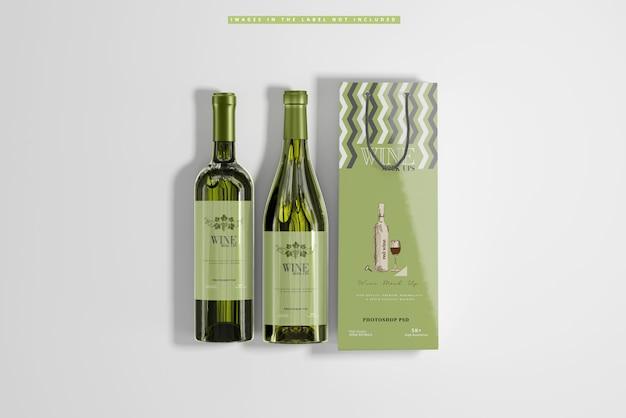 Vino bianco con sacchetto di carta mockup