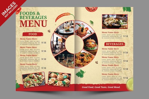 Vintage bifold food menu cover design premium psd-sjabloon