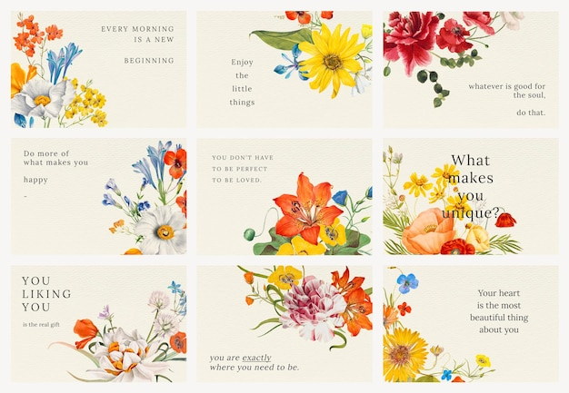 Vintage bloemencitaatsjabloon psd illustratie set, geremixt van kunstwerken in het publieke domein