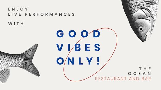 Vintage blog-bannersjabloon psd voor restaurant, geremixt van kunstwerken in het publieke domein