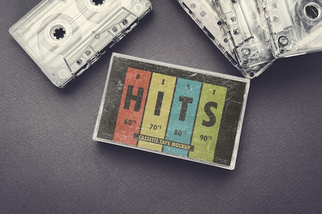 Vintage cassette tape hoes mockup