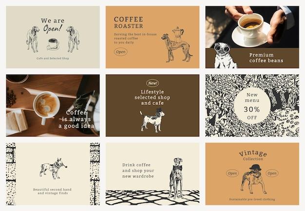 Vintage citaatsjabloon psd met hondenset, geremixt van kunstwerken van moriz jung