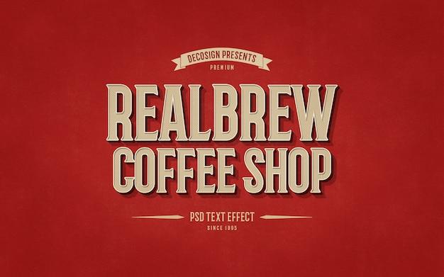 Vintage coffeeshop teksteffect mockup Premium Psd
