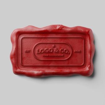 Vintage document stempelen rechthoek rode kaars retro lakzegel reliëf logo mockup