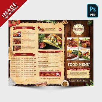 Vintage driebladige menu voorzijde