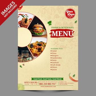 Vintage food menu cover design premium psd-sjabloon