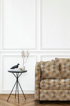 Vintage katoenen kussenhoes mockup psd in abstract patroon woonconcept