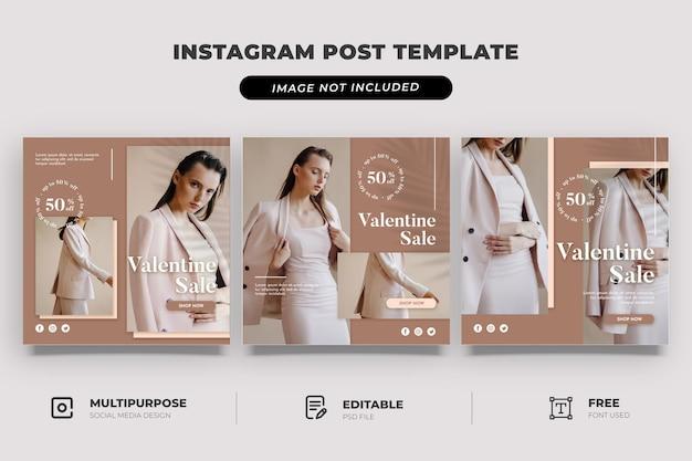 Vintage mode valentijn verkoop sociale mediasjabloon