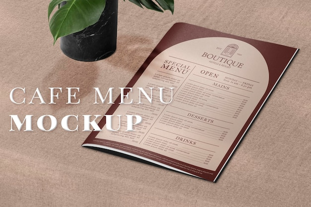 Vintage restaurantmenu mockup psd op een tafel