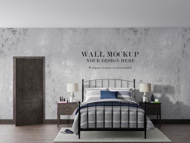 Vintage slaapkamer behang mockup ontwerp