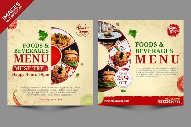 Vintage sociale media post food menu cover design premium psd-sjabloon