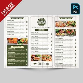 Vintage trifold restaurant menu promotie achterkant