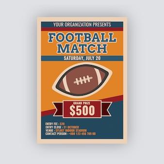 Vintage voetbalwedstrijd flyer