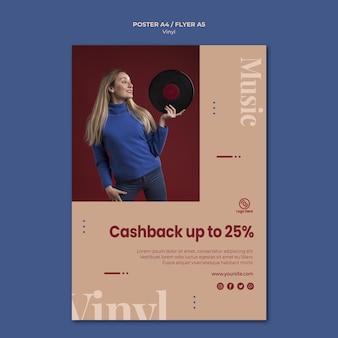 Vinyl cashback promotie poster sjabloon