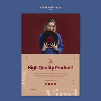 Vinyl hoge kwaliteit product poster sjabloon
